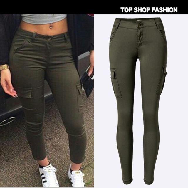 2016 New Low Waist Elasticity Women Jeans Fashion Double Pockets ArmyGreen Color  Skinny Jeans Femme Push - Aliexpress.com : Buy 2016 New Low Waist Elasticity Women Jeans
