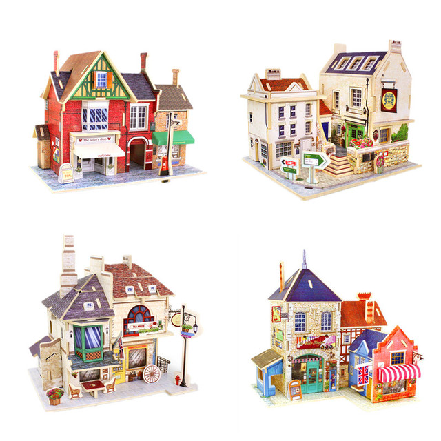 Novelty 3D Wooden Puzzle Jigsaws of UK Style House Wood 3D Mini DIY House Colorful Model Kits for Kids Creative Toys & Gifts