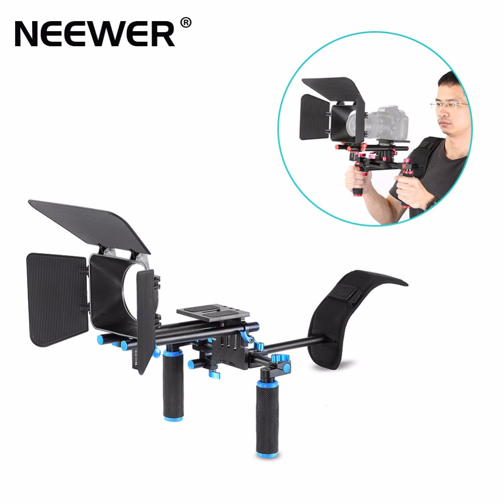 Neewer Camera Movie Video Making Rig System Film-Maker Kit for Canon Nikon Sony and Other DSLR Cameras, DV Camcorders (Red) new portable dslr rig film movie kit shoulder mount video photo studio accessories for canon sony nikon slr camera camcorder dv