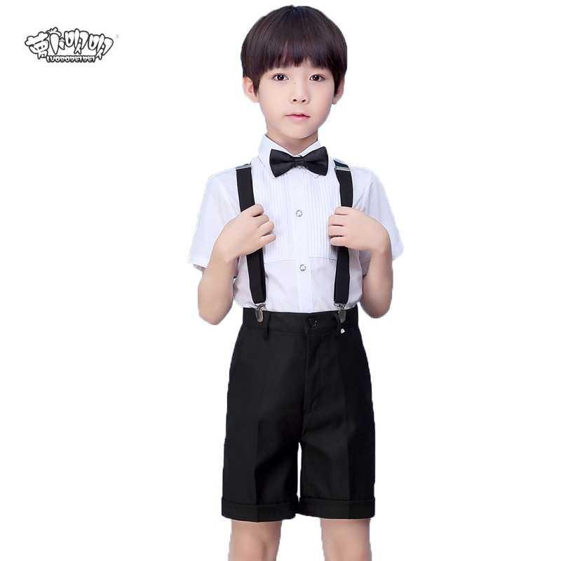 17b627086 Flower Boys Formal Wedding clothes set childs shirt suspender shorts tie  4Pcs student clothing party dress