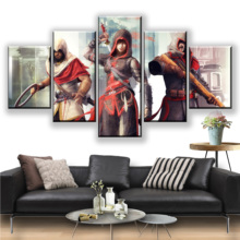 HD Assassins Creed Posters 5 Pieces Canvas Print Video Games Paintings Wall Art Prints Home Decoration Framework