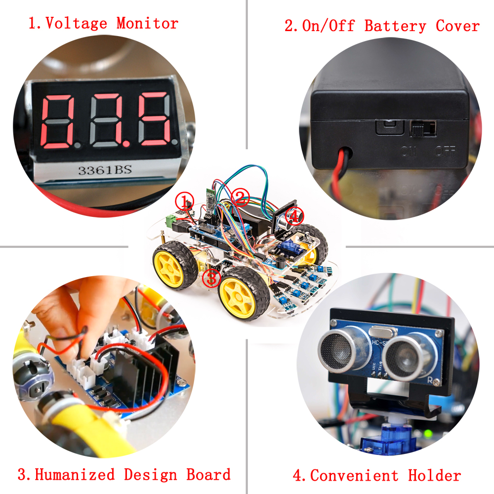 Image 2 - OSOYOO 4WD DIY Smart Robot Car For Arduino Starter Learning kit Bluetooth WiFI Expansion Module Board ios  Android APP-in Demo Board from Computer & Office