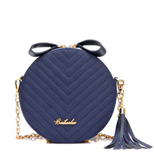 Popular Mini Solid Women PU Leather Handbags Letter Printing with Chains and Tassel Women Shoulder Bags Circular Bag Crossbody