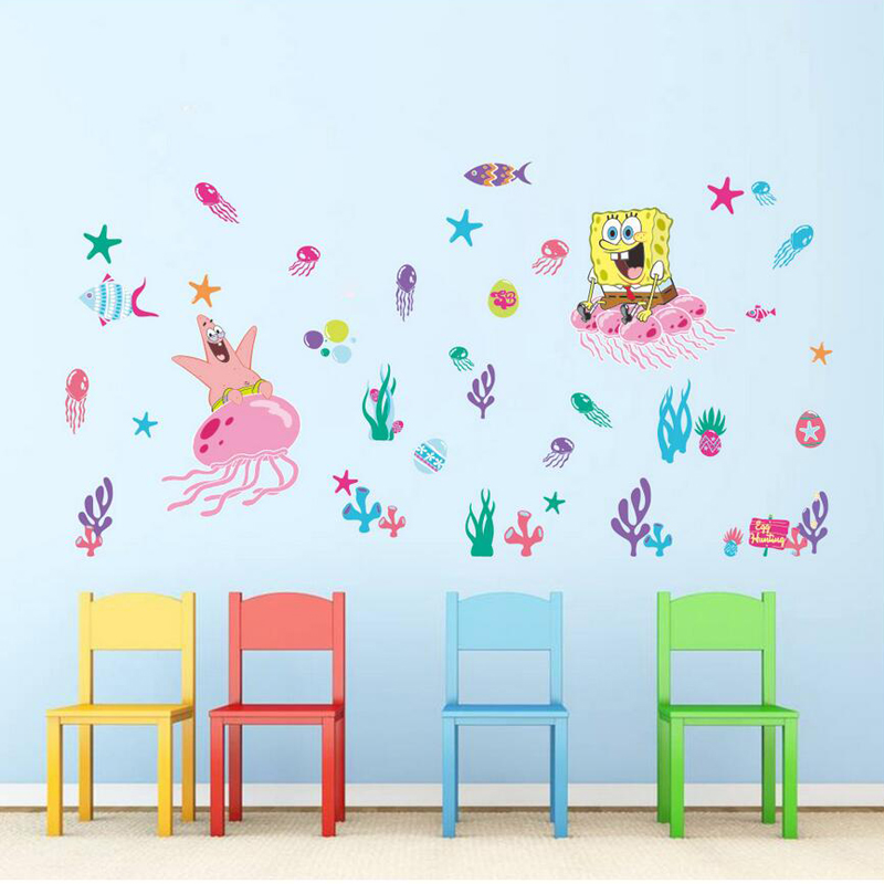 Kids bedroom 3d spongebob sticker for baby room wall decor removable nusery wall  decals home decor
