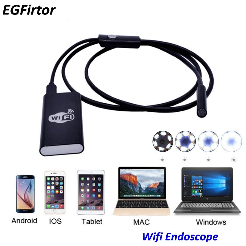 WIFI Endoscope Camera Mini Flexible Snake Soft Cable Inspection Camera 8mm USB Rechargable Endoscope Android IOS Phone Camera