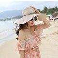 2016 Nueva Playa de La Manera Sombreros Para Las Mujeres Sun Sombreros de Verano Grande Sombrero de ala Sombreros de Playa Mujer Sombrero de Paja Flojo Sólido Al Aire Libre 1849
