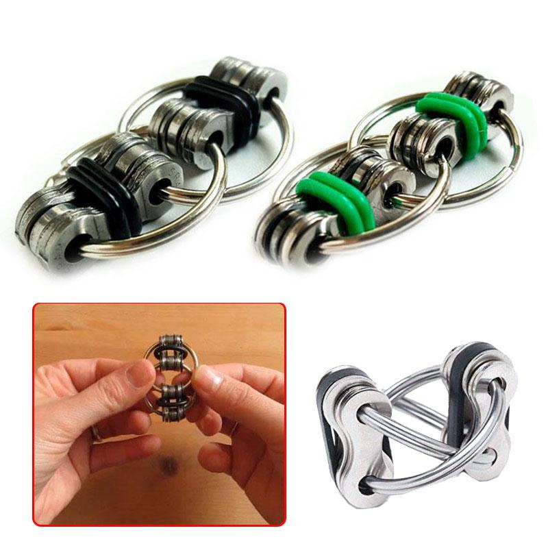Aliexpress Buy 2017 Hand Fidget Spinner Decompression Toy Stainless Steel Bicycle Chain Buckle Key Ring Finger Gyro DIY From