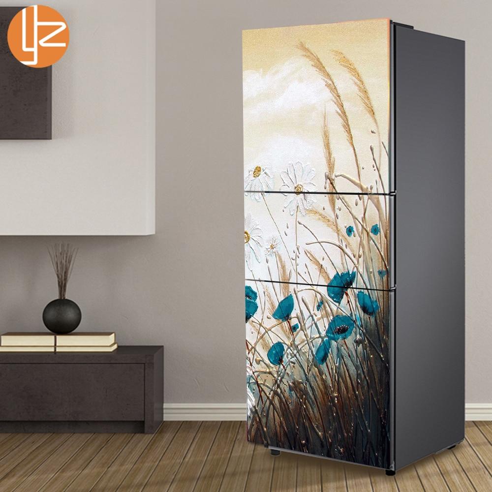 yazi פרחים תבנית מקרר מדבקה PVC מקרר דלת מדבקות קיר קישוט מטבח עצמי דבק מדבקות קיר תפאורה