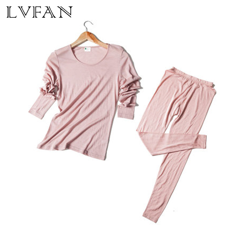 30%Silk 70% Wool Warm Solid Color Round Neck Ladies Underwear Set Silk Autumn Clothes Long Pants Thermal Tops +Panties Sleapwear