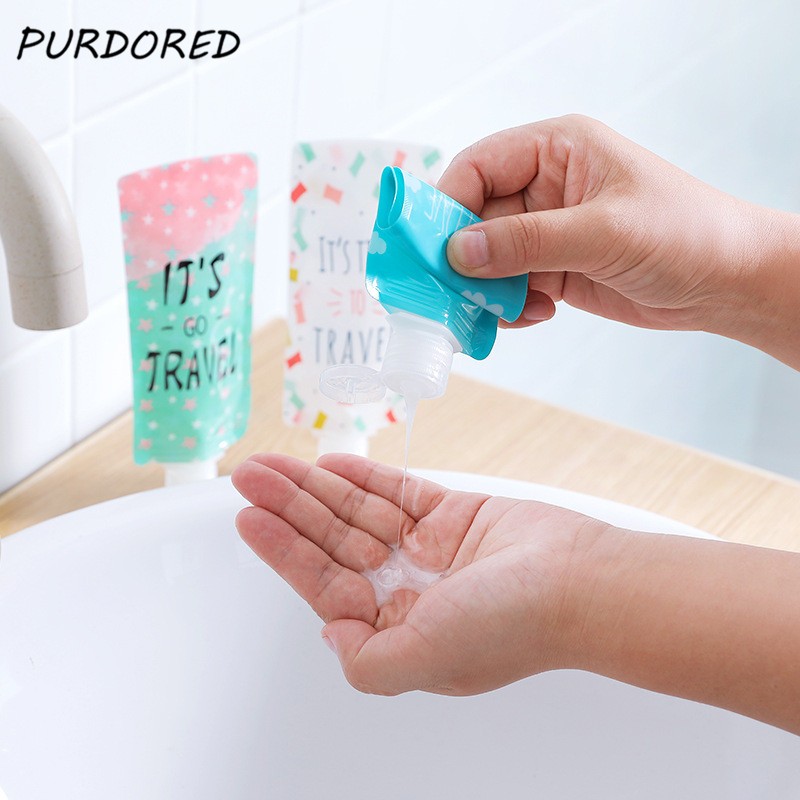 PURDORED 1 Pc Travel Folding Dispensing Bag Portable Shower Shampoo Bottle Empty Make Up Container Bottle Travel Accessories