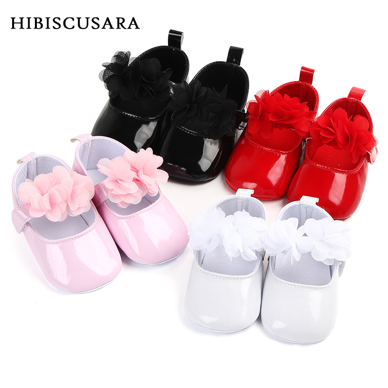 Baby Girl Princess PU Leather Shoes With Flowers Infant Soft Sole First Walkers Spring Summer Bebe Crib Shoes Patent Leather