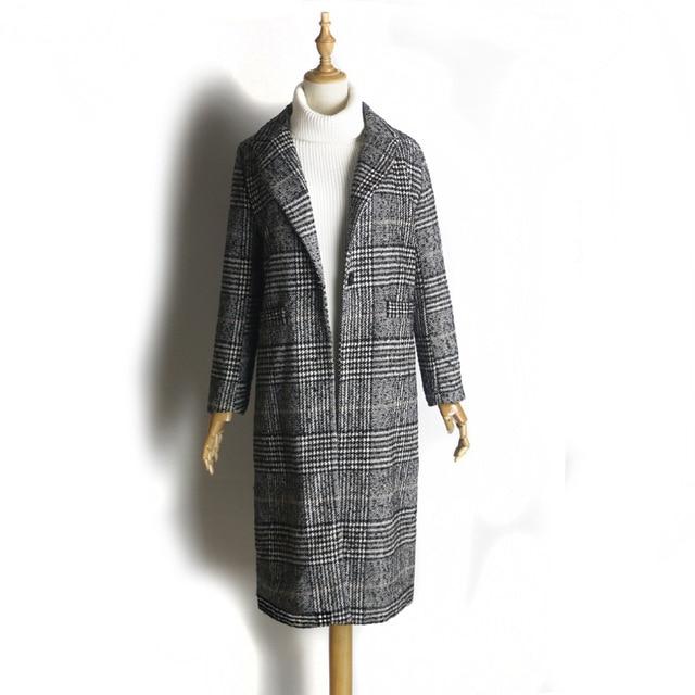 Women Wool Coat Plaid Women Loose Long Single Breasted Woolen Coats Spring Coat Woolen Overcoat Autumn Wool Jackets Trench WJ54 2