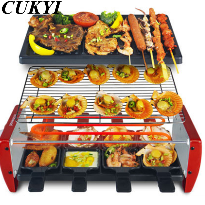 CUKYI Electric heating BBQ household grill smokeless barbecue machine meat machine electric oven cabob stove cukyi household electric multi function cooker 220v stainless steel colorful stew cook steam machine 5 in 1