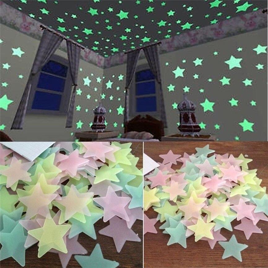100 шт. 3D звезды светятся в темноте светящиеся флуоресцентные три Цвет смешивания стены стикеры Гостиная домашнего декора для детей номеров #...