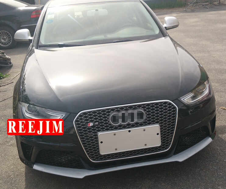 US $182 66 |RS4 Style racing Grill For 13 16 racing grill Audi A4 B8 S4  Honeycomb Silver Frame Silver Ring Car styling Type A-in Racing Grills from