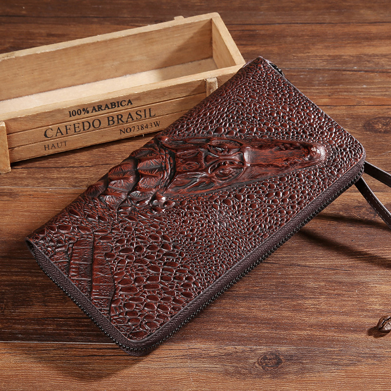 3D Crocodile font b Men b font Women Genuine Leather hand Bag Ladies Clutch Fashion Evening