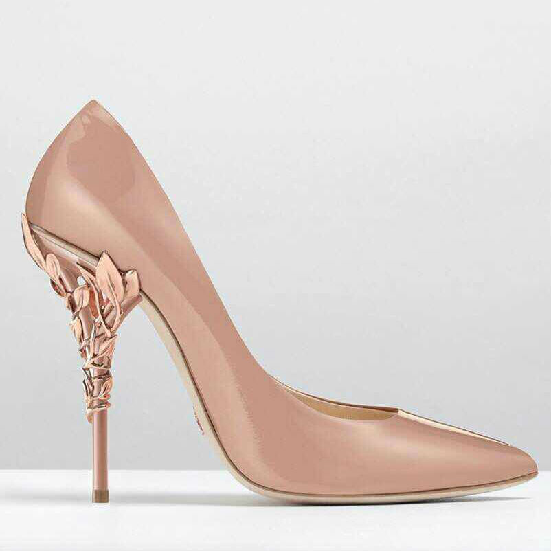 fashion gold leaf high heel pumps shoes luxury brand