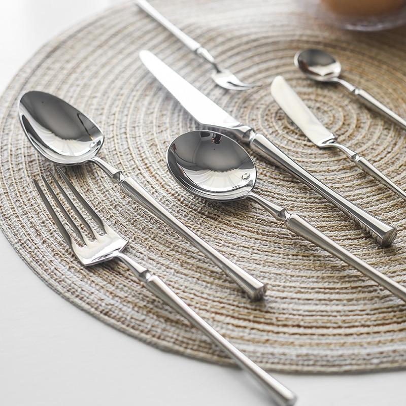 Набор ножей из нержавеющей стали 304, новый серебристый набор посуды, 1 шт., зеркальная полировка, Обеденный нож и вилка