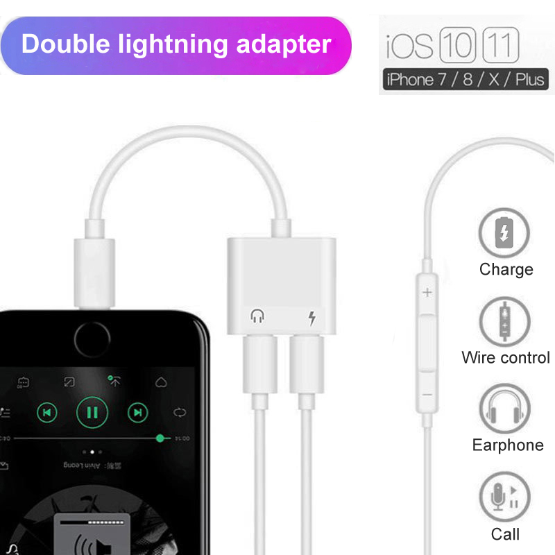 Double Jack Charging Audio Adapter Converter For IPhone 7 8 X Suppore IOS 11 Headphone Audio Charger Adapter For Call And Music
