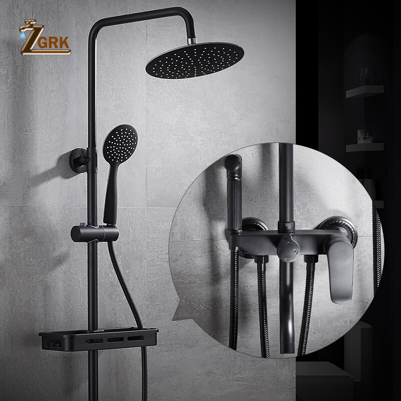 ZGRK New 1 set Black Lacquered Bathroom Rainfall Shower Faucet Set Mixer Tap With Hand Sprayer