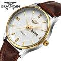 Watches Men 2016 GUANQIN Top Brand Men Watch Fashion Quartz-watch Leather Strap Waterproof Casual Luxury Relogio Masculino Clock