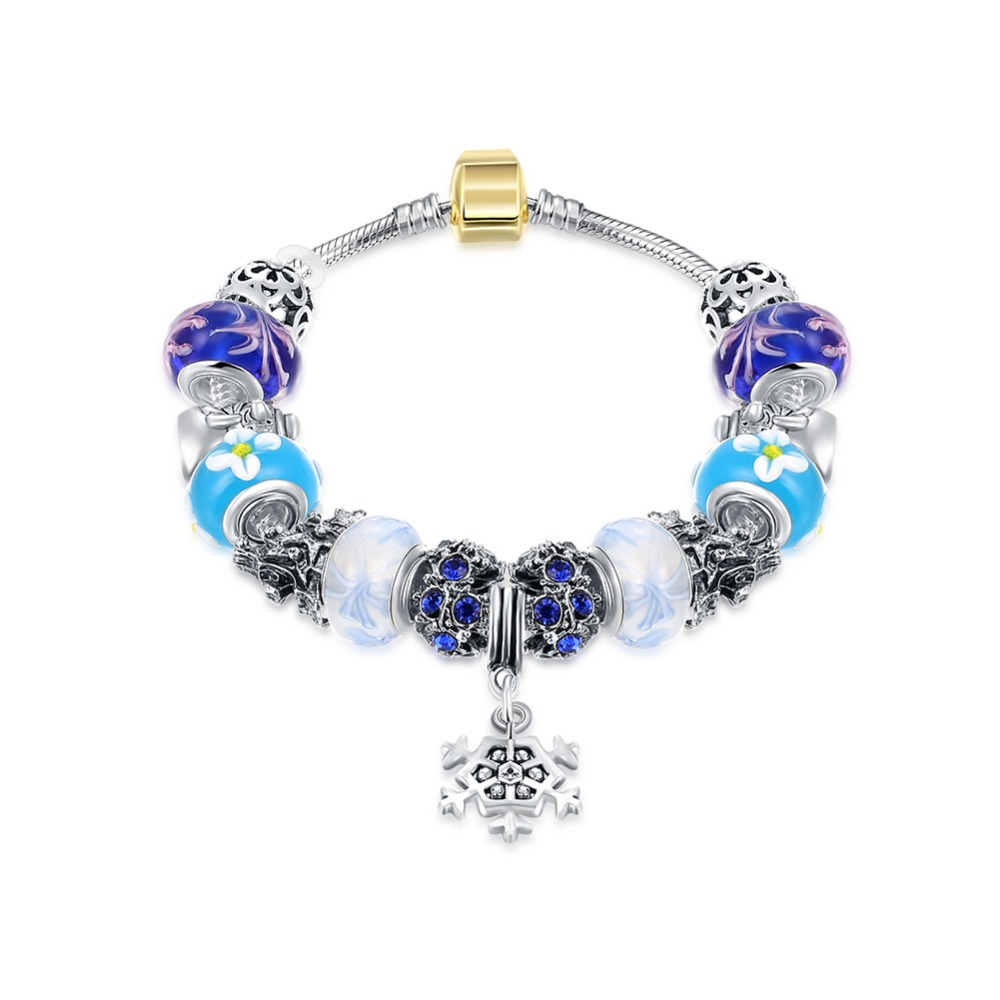 Pandor Charm Silver 925 Original Snowflake Big Hole Crystal Beads Silver Bracelet Snake Chain Authentic 925 Sterling Silver Gift
