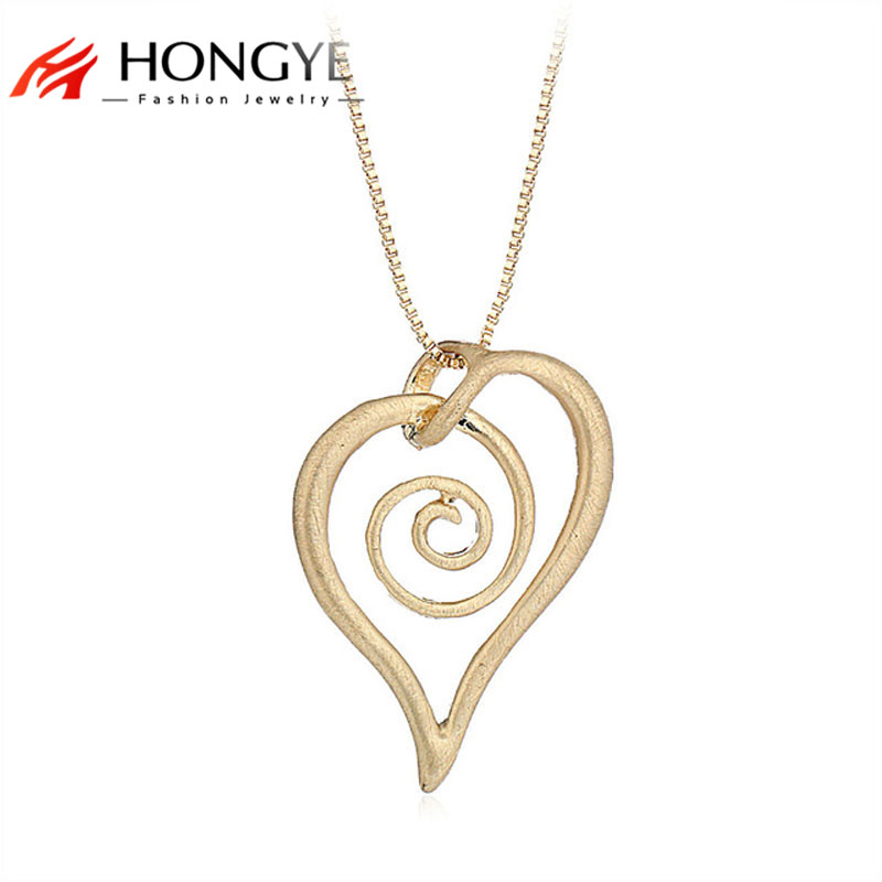 Simple Unique Alloy Silver Gold Necklace Wire Drawing Snail Heart Love Long Box Chain Necklace Jewelry Best Friend Gift Bijoux image