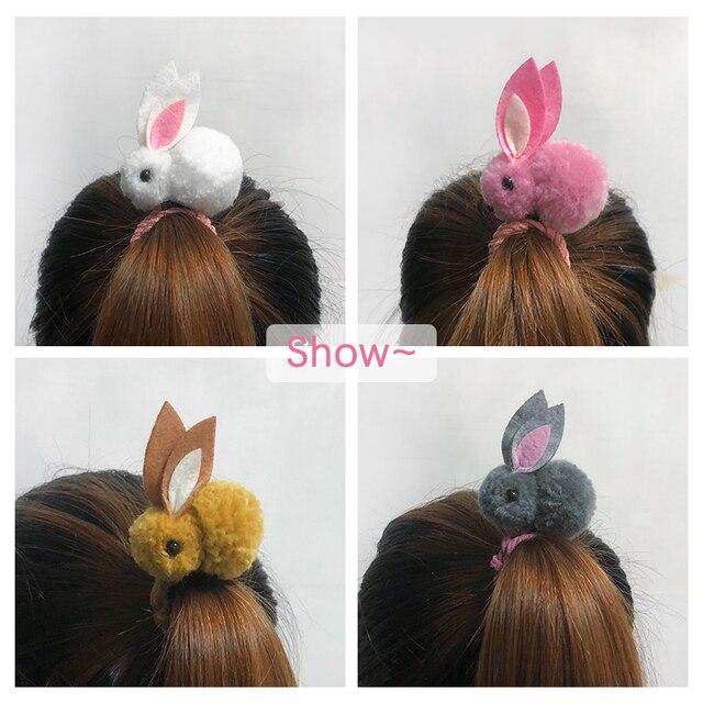 Cute animal hair ball rabbit hair ring rubber elastic bands Korean children hair Accessories 4