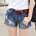 Continental Retro mediados de cintura mujeres Short Jeans mujer femeninos del dril de algodón pantalones cortos salvajes de verano corta floja moda más el tamaño de los pantalones vaqueros