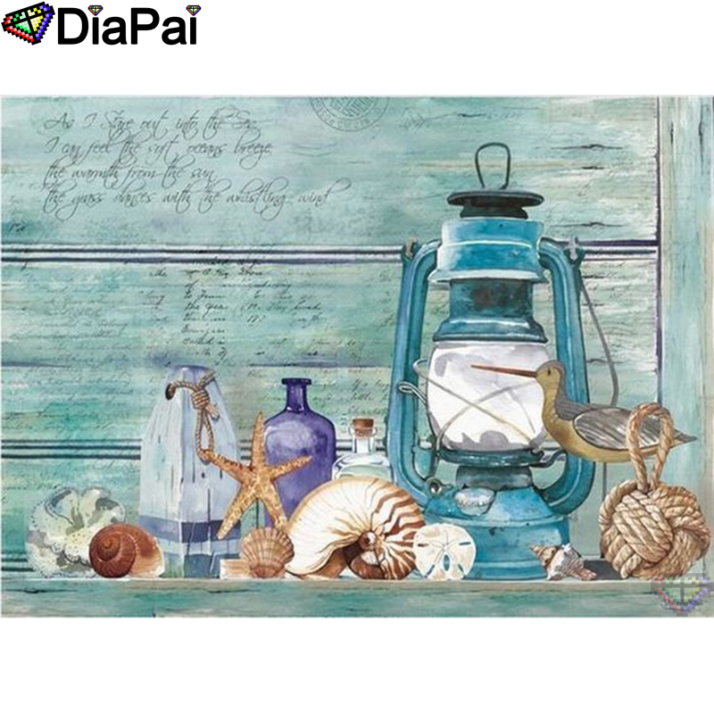 DIAPAI 5D DIY Diamond Painting 100 Full Square Round Drill quot Starfish oil lamp quot Diamond Embroidery Cross Stitch 3D Decor A21947 in Diamond Painting Cross Stitch from Home amp Garden