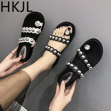 HKJL Summer 2019 New Sandals Womens Korean Version Comfortable Slope-heeled StudentsLeisure Slippers A214