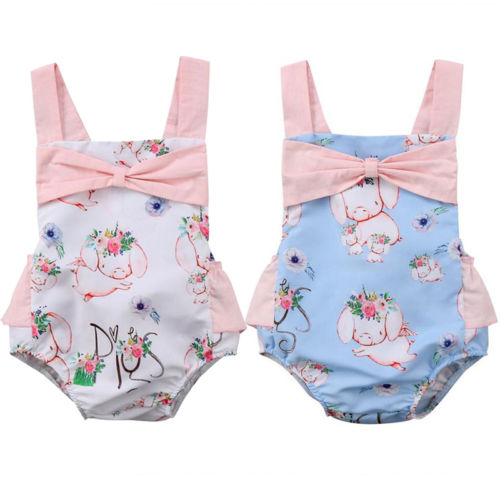 Newborn Infant Baby Girls Kids Romper Cute Floral Pig Print Jumpsuit Backless Bowknot Clothes Outfits