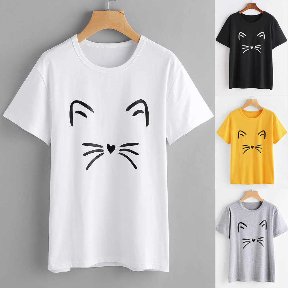 Women Fashion Casual Short Sleeve O-Neck Wild Slim solid color Cat Printed Causal  Tops T-Shirt  roupas feminina
