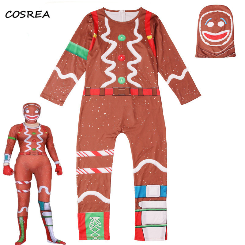Children Fortnight Bodysuits Cosplay Costumes Skull Trooper Skin Decoration Jumpsuits Mask For Boys Kids Halloween Party Clothes