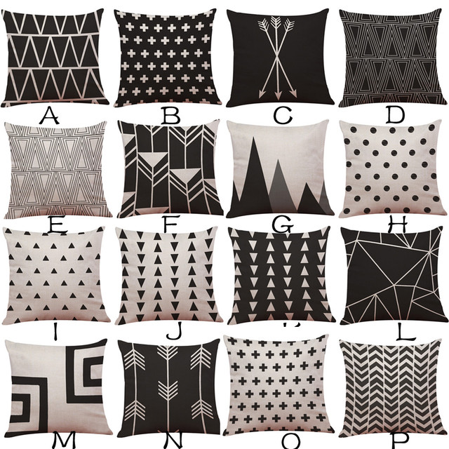 Fashion Geometric Creative Pattern Decorative Pillowcase 45 45cm Cotton Linen Throw Pillow Case Cushion Cover