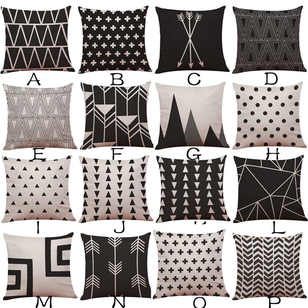 Fashion Geometric Creative Pattern Decorative Pillowcase 45*45CM Cotton Linen Throw Pillow Case Cushion Cover Sofa Home Decor