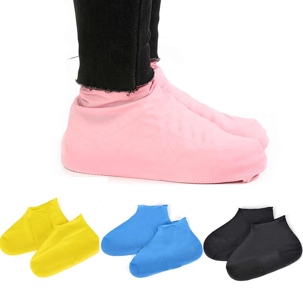 1 çift Yeniden Kullanılabilir Lateks Su Geçirmez Ayakkabı Kapakları Anti-Kayma Overshoes kauçuk yağmur çizmeleri Ayakkabı Koruyucu Aksesuarları Couvre Chaussure