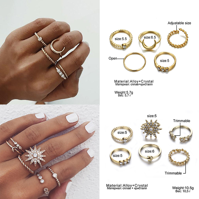 IPARAM Bohemian Vintage Gold Crescent Geometric Joint Ring Set 4