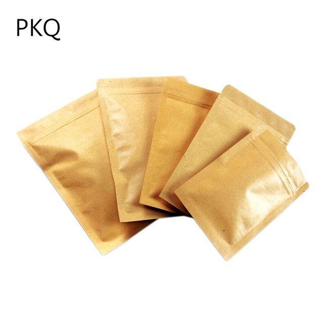 11x18 5cm 4 3 7 Small Kraft Paper Aluminum Foil Bag Coffee Tea Powder Food Packaging Zip Lock 100pcs Shipping In Gift Bags Wring