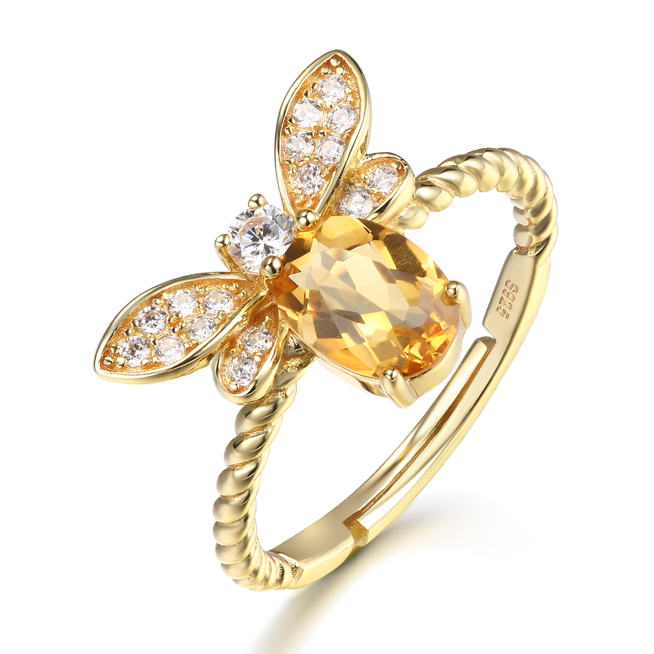 ALLNOEL Fine Jewelry Rings 925 Sterling Silver Natural Gemstone  Citrine Bee Engagement  Ring Set Wedding Silver Custom Jewellry