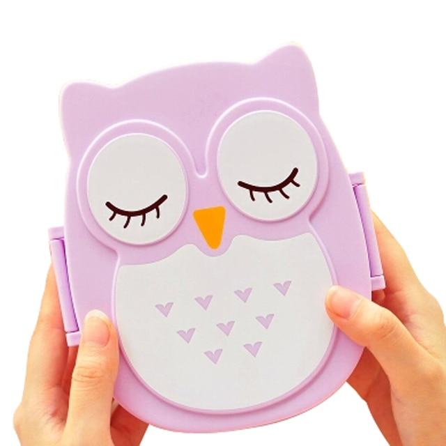 DSGS Fun Life Bento box Cartoon cute owl Bento Lunch meal box tableware purple