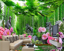 beibehang Fresh bamboo forest peony fashion large three-dimensional wall paper full house theme space background 3d wallpaper
