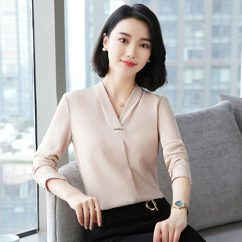 Novelty Champagne 2018 New Styles Fall Autumn Formal Business Women   Blouses     Shirts   Female Tops Clothes Ladies Office   Blouse