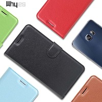 For Samsung Galaxy S6 Edge Plus Case 9 Color Wallet Case PU Leather Lichee Pattern Luxury Flip Card Slot Phone Cover Bags