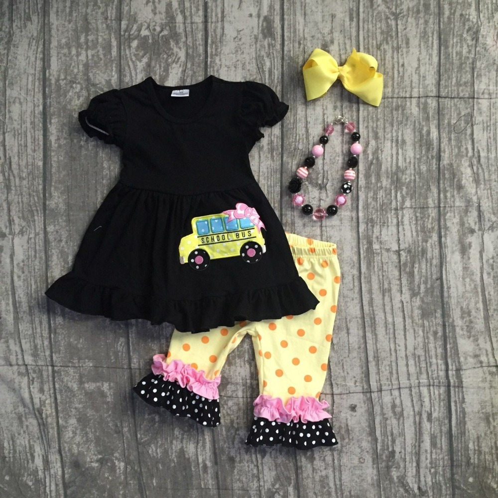 2018 Back to school baby girls outfits boutique clothing school bus black yellows ruffles capris set with matching accessories 2016 summer baby child girls outfits ruffles shorts white striped watermelon boutique ruffles clothes kids matching headband set
