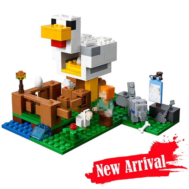 New MY Worlld LEPIN 18035 Minecraft  Series The Chicken Coop Building Blocks Toys For Children Compatible With ings 21140 new lp2k series contactor lp2k06015 lp2k06015md lp2 k06015md 220v dc