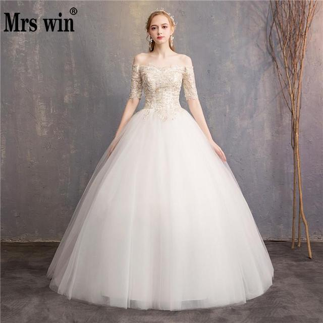 Princess Colorful Wedding Dress 2018 New Mrs Win Champagne Lace Half Sleeve Ball Gown Off The