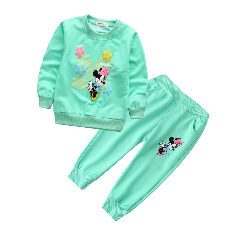 9b1774a23 Spring Autumn baby girl clothes Minnie Long Sleeve T-shirt And Pants 2pcs  Cotton Suits