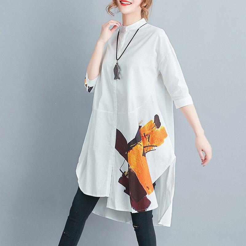 cbf4f0a595d 2018 Fashion Women White Color Cotton Linen Shirt Dress Plus Size Korean  Elegant Irregular Printed Femme Vestidos Blouse Dresses