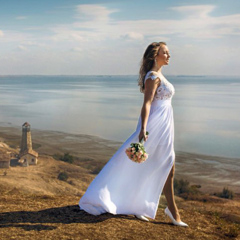 Chiffon Beach Bryllup Kjoler 2019 Vestido De Noiva Vintage Blonde Appliques Sexy Kvinder Brude Kjole Med Kask Kortærme